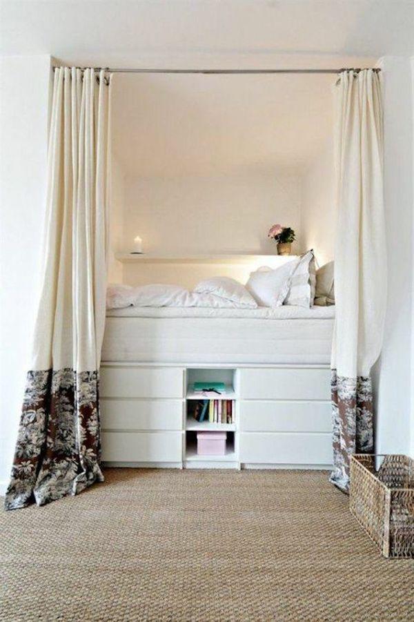 installer lit mezzanine estrade avec tiroirs rangement optimisé petit appartement malin bien agencé