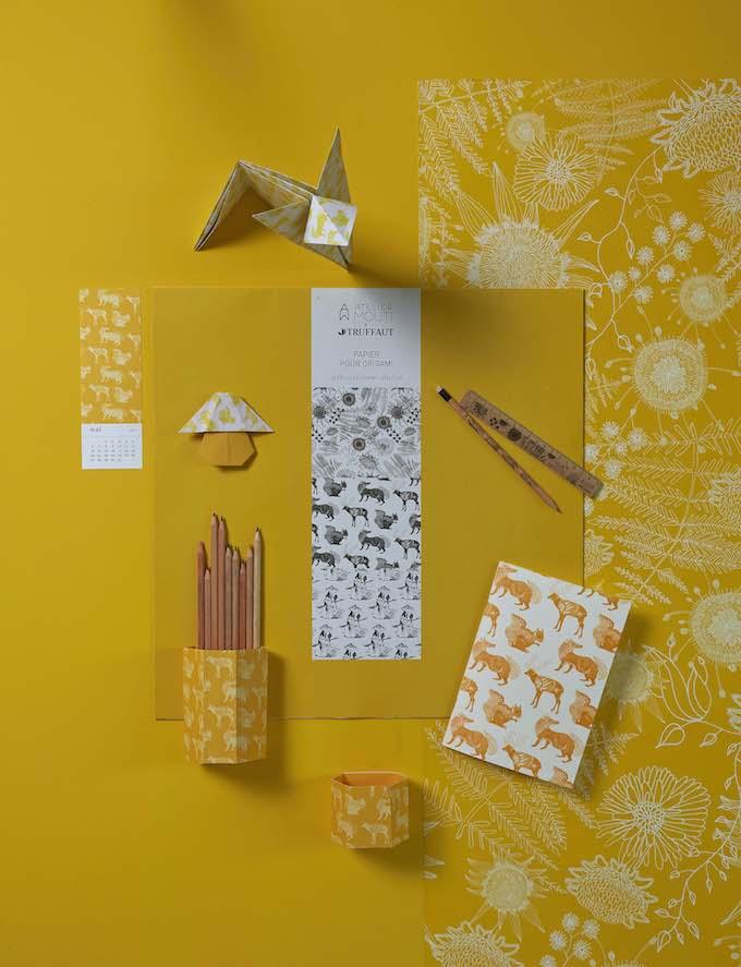truffaut x atelier mouti collection papeterie jaune - blog déco - clem around the corner