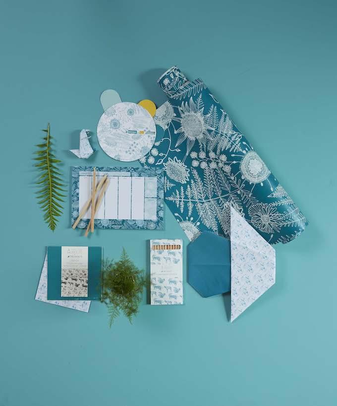 truffaut x atelier mouti collection papeterie bleu turquoise - blog déco - clem around the corner