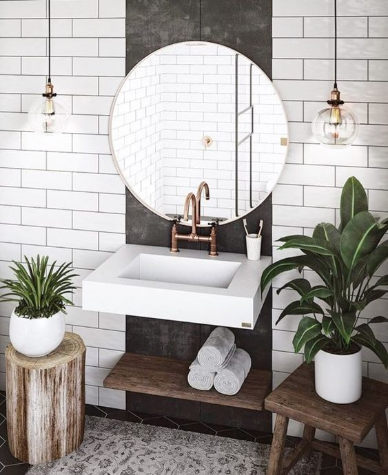 salle de bain theme nature rondin de bois ficus succulente - Blog déco - Clem around the corner
