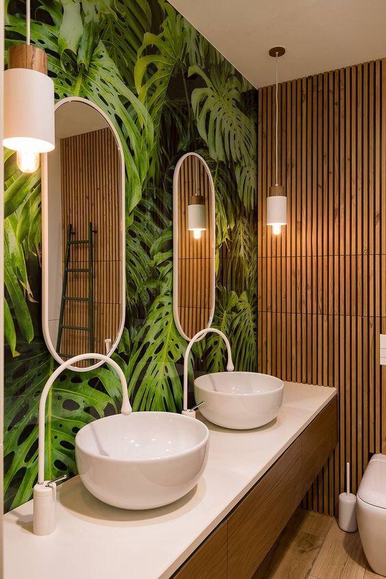 salle de bain theme nature bambou carrelage feuille robinet goutte design - Blog déco - Clem around the corner