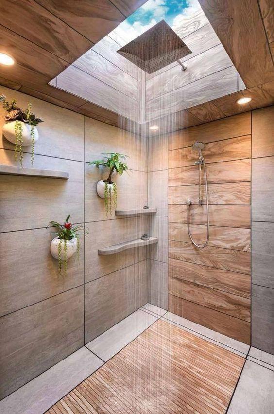 salle de bain theme nature douche tout en bois carrelage trompe l'oeil puit de lumière - blog déco - clem around the corner