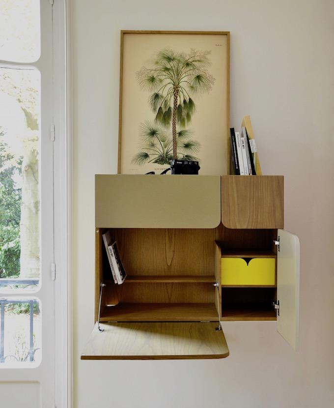 petit bureau rabattable etroit secrétaire pour couloir ou coin exigu entrée espace mural eno studio