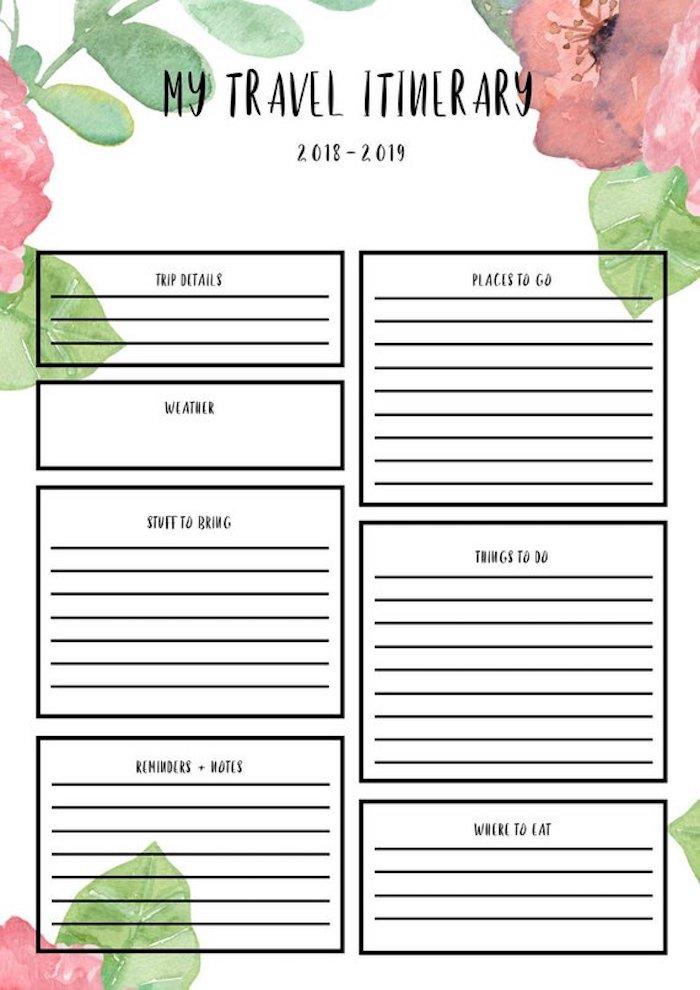 carnet d'organisation voyage floral itinéraire roadtrip fleurs nature