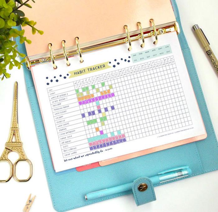 planner à imprimer tracking habitudes bullet journal couleurs création blog déco diy