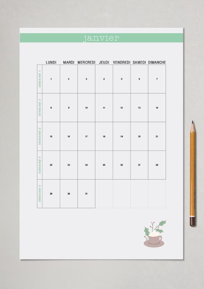 planner à télécharger mensuel blog déco calendrier mois gratuit