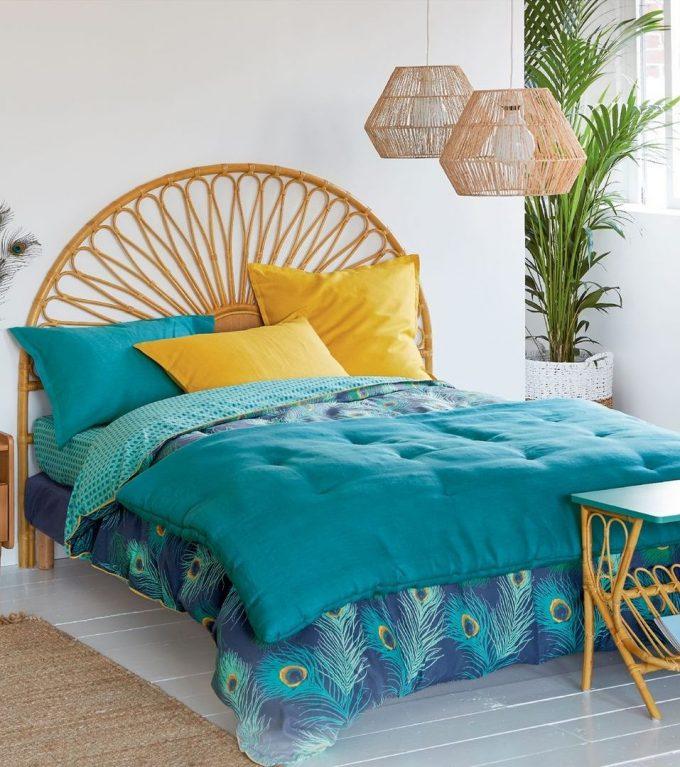 tête de lit en rotin motif soleil volute naturel deco blog clemaroundthecorner
