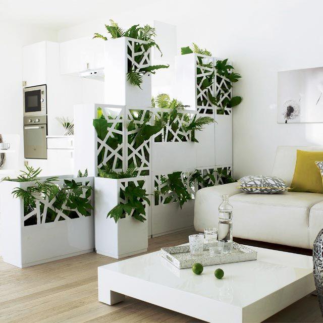 cloison original en plante case blanc ajouré salon pour séparer cuisine ouverte salon studio