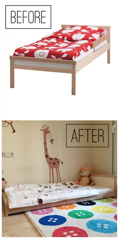 hack lit ikea au sol diy 2 ans chambre thème savane girafe pas cher décoration