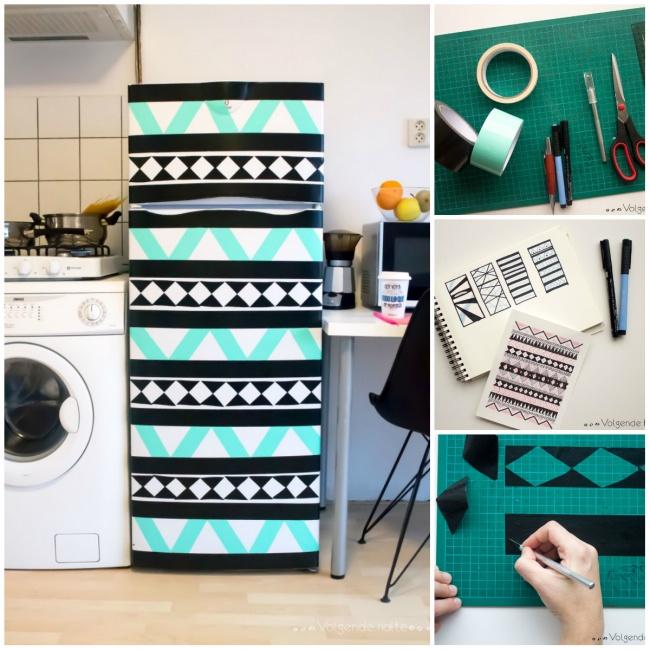customiser le frigo avec du masking tape motif blog création déco clem around the corner