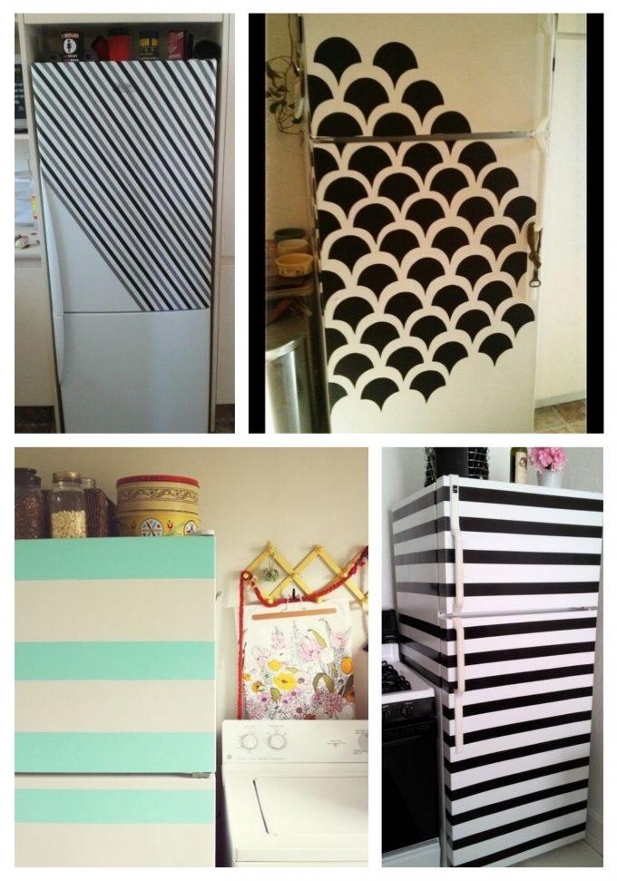 customiser le frigo avec de la peinture blanc rayure etape tuto blog création déco clematc