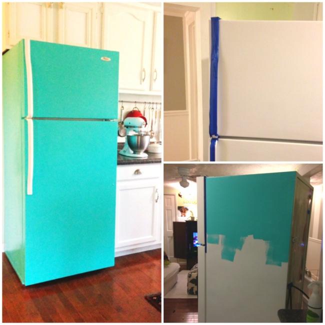 Customiser le frigo avec de la peinture couleur mint tutoriel blog deco clem around the corner