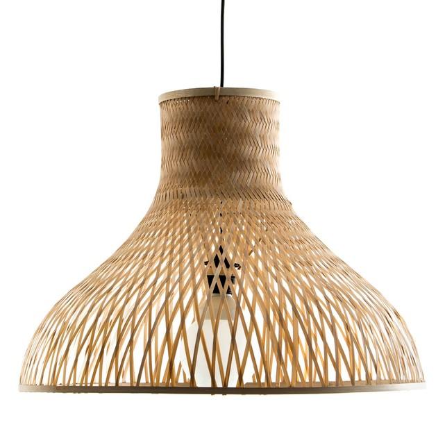 lampe bambou cadrillé quadrille ombre mur original en forme de chapeau triangle rotin