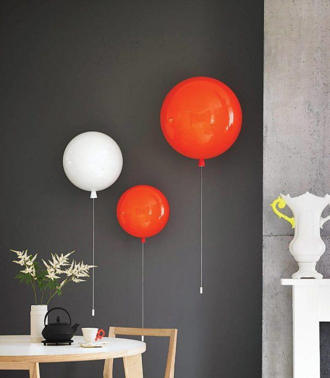 applique lumineuse  suspension ballon de baudruche gonflable helium rouge blanc décoration