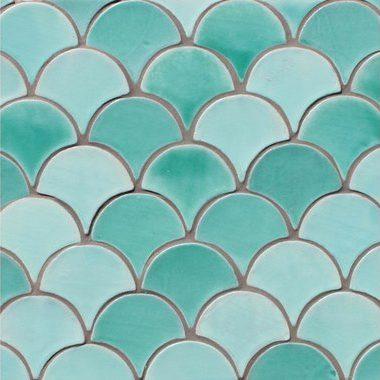 crédence céramique forme éventail style art déco turquoise artisanat