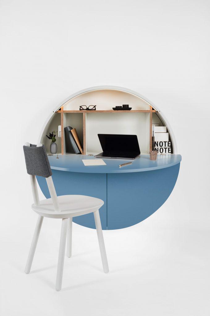 bureau pliable pour petit espace pill rond mural blog déco clem around the corner