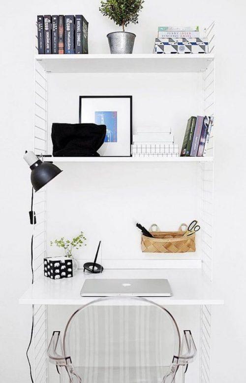amenager 20m2 bureau rabattable travail étagère table chaise blanc studio petit espace blog déco