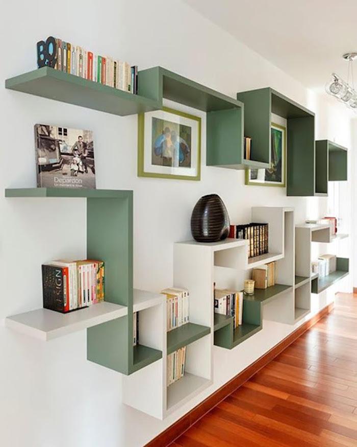 deco graphic étagère vert blanc livres bibliothèques