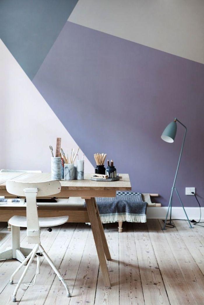 deco graphic violet mur color block chambre atelier cocooning hygge