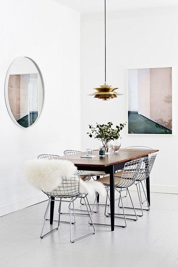 déco motif grille wire chair Harry Bertoia blog design clem around the corner
