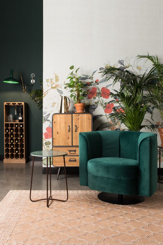fauteuil en velours nuance de vert pivotant fleur salon cosy hygge blog déco clem around the corner