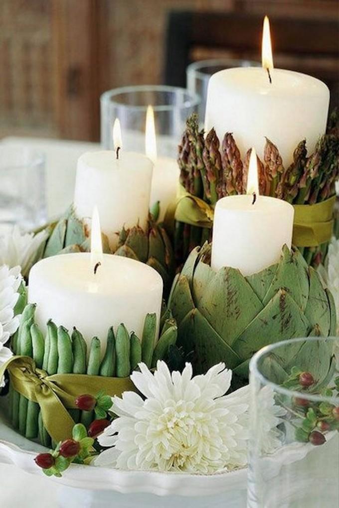 que faire avec des artichauts déco végétale bouquet avec artichaut bougie clemaroundthecorner blog déco