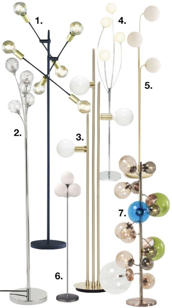 lampe boule sur pied lampadaire design tout prix couleurs laiton salon clemaroundthecorner blog déco