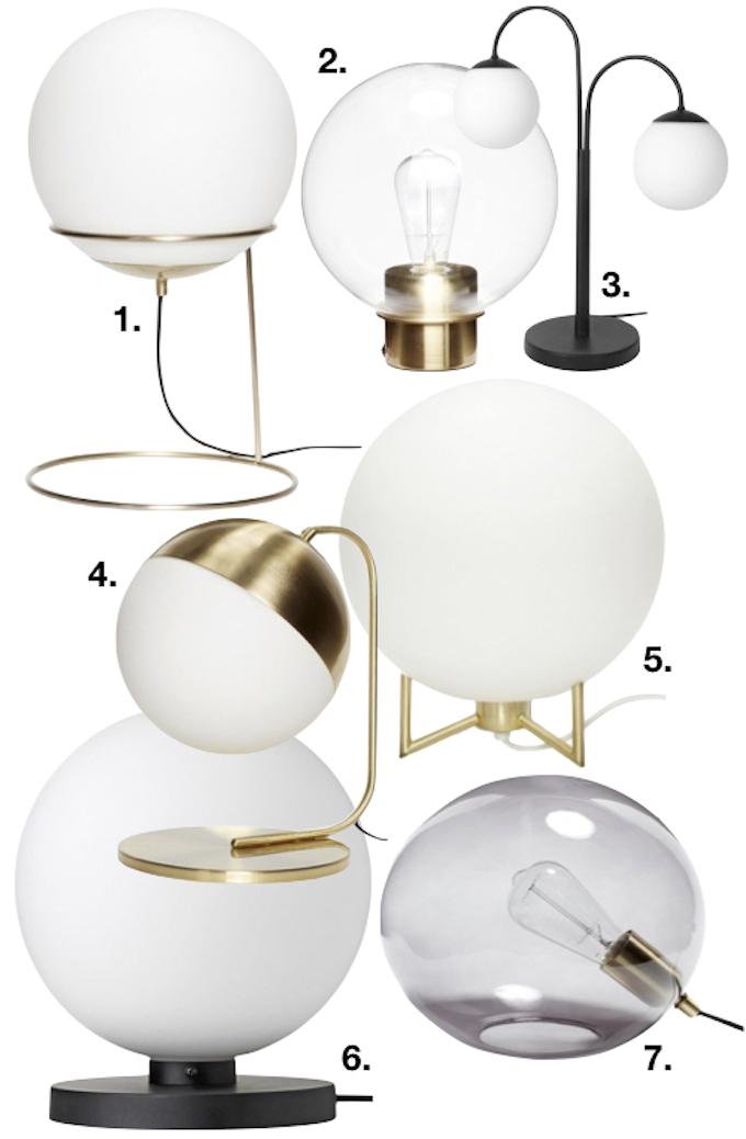 lampe boule shopping list lampe de chevet sphère rond or noir design tendance 2018 clemaroundthecorner blog déco