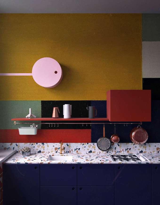 couleurs coloré cuisine multicolore originale artistique plan de travail terrazzo