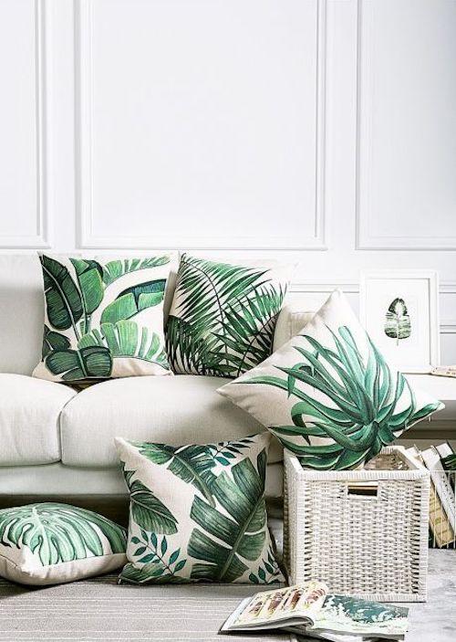 aménager 20m2 coussin canapé vert feuille décoration déco blog