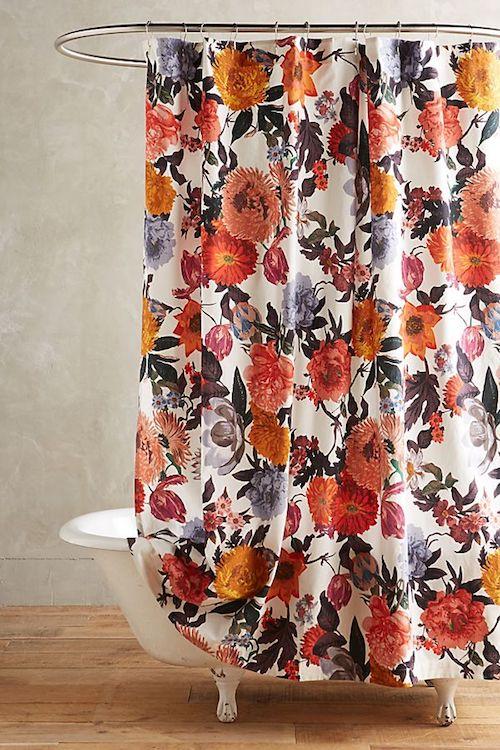 aménager 20m2 rideau de douche fleurs original coloré couleurs douche