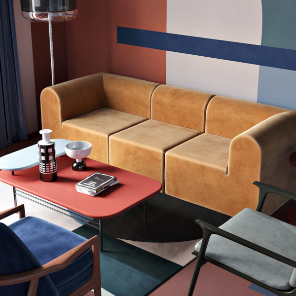 blog déco clemaroundthecorner daria zinovatnaya salon couleurs formes art artistique canapé fauteuil