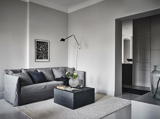 canapé lin gris mur shades of grey - blog déco - clem around the corner