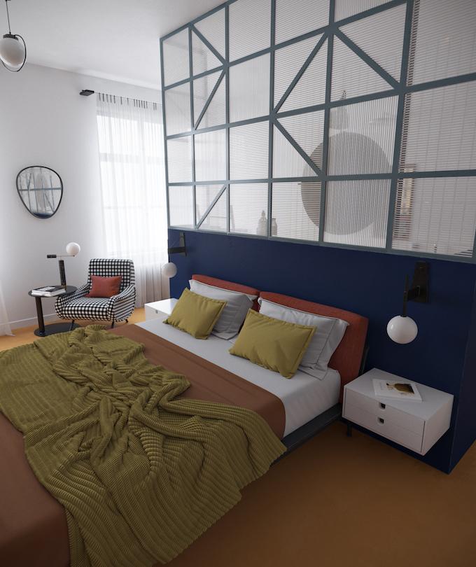 daria zinovatnaya blog déco clemaroundthecorner chambre à coucher simple originale sobre verrière salle de bain lit fauteuil