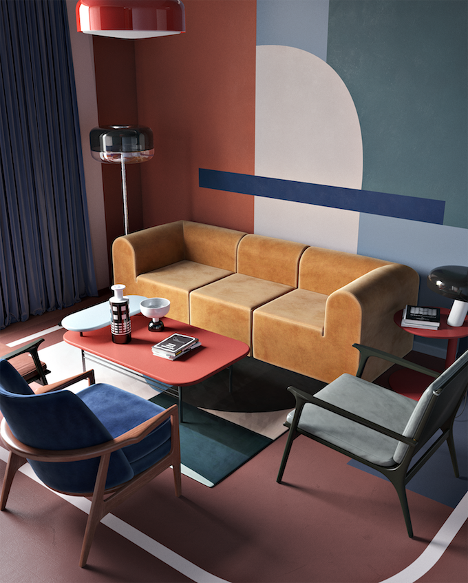 daria zinovatnaya blog déco clemaroundthecorner salon original couleurs coloré design color block