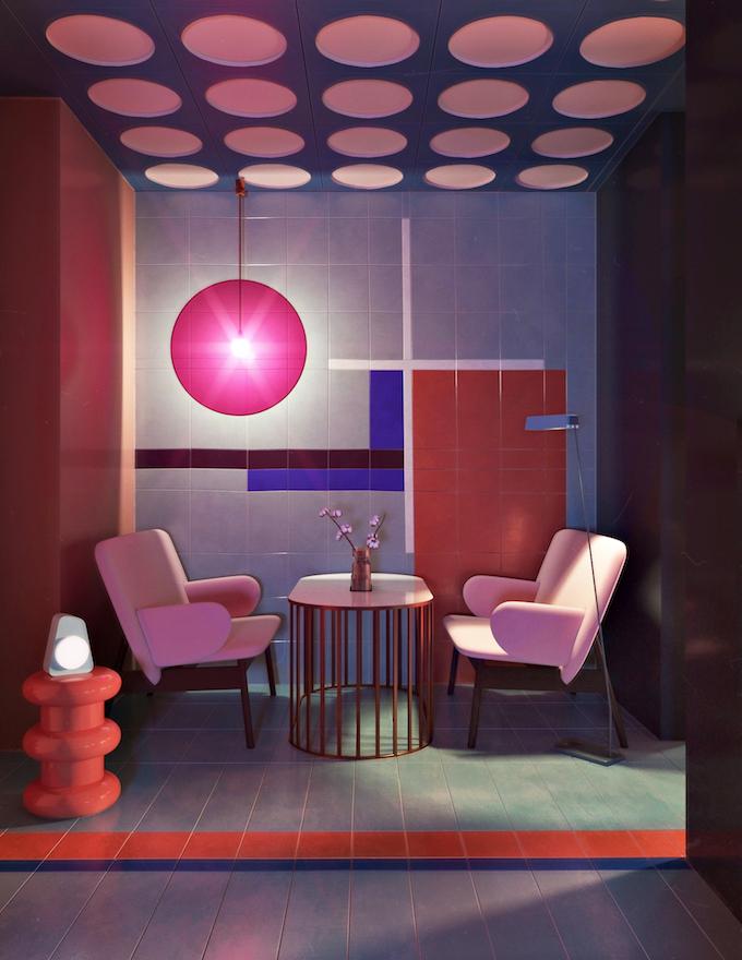daria zinovatnaya blog déco clemaroundthecorner salon rose blush color block ukraine décoration