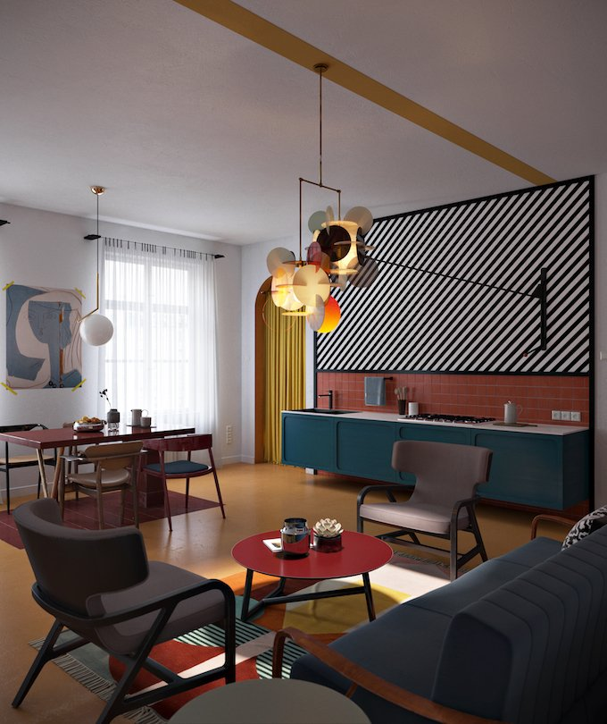 daria zinovatnaya blog déco clemaroundthecorner salon séjour original grand appartement décoration ukraine design
