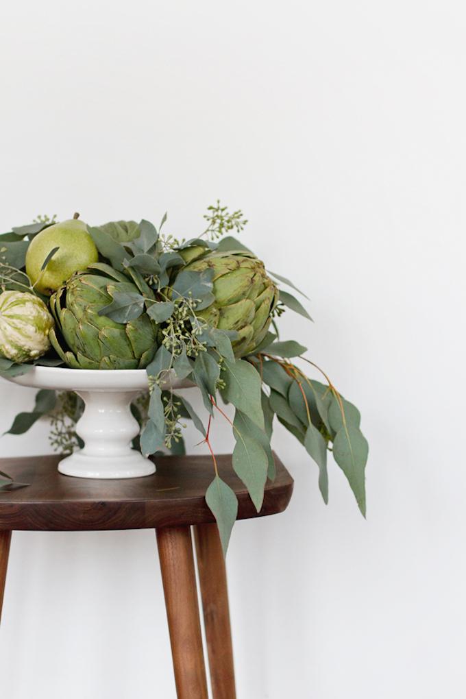 que faire avec des artichauts bouquet centre de table poires courgettes légumes vert clemaroundthecorner blog déco