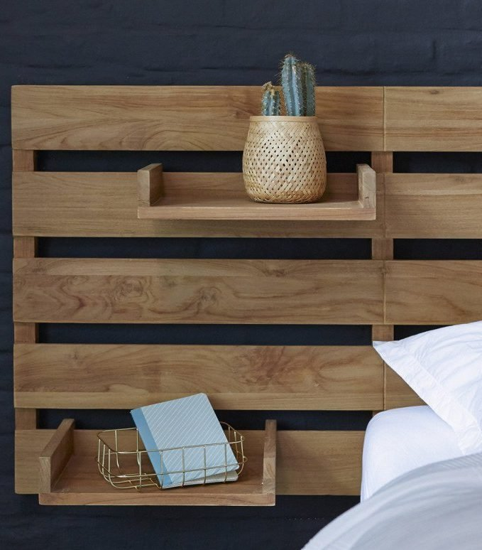 tête de lit avec rangement étagère modulable teck - blog déco - clem around the corner