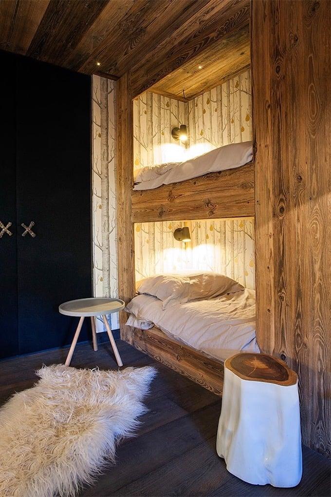 chalet megève chambre lutin lit superposé montagne bois - blog déco - clem aroud the corner