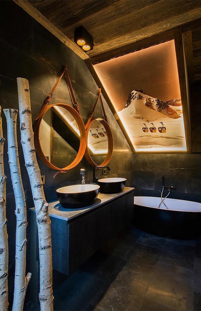 chalet du Père Noël Megève salle de bain déco de montagne - blog décoration - clem aroud the corner