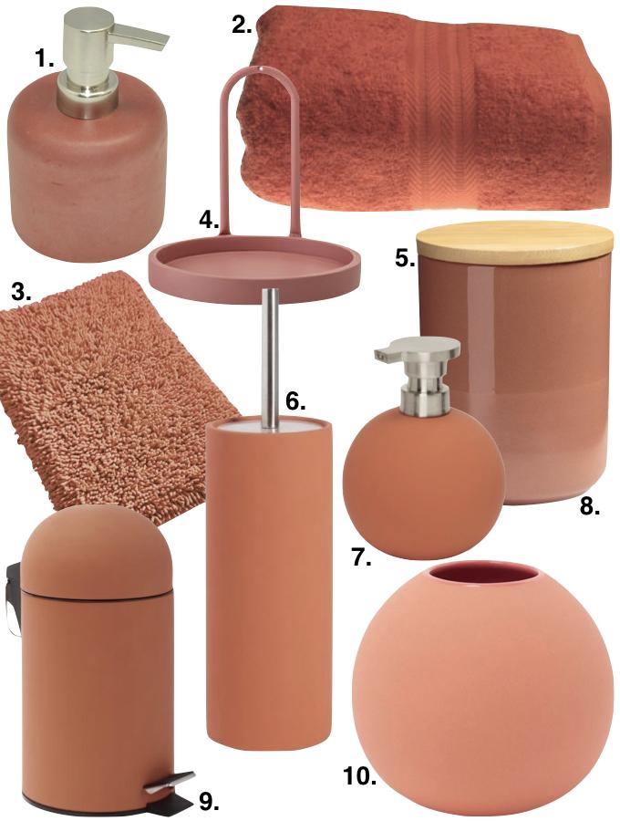 couleur terracotta objets salle de bain déco blog déco clem around the corner