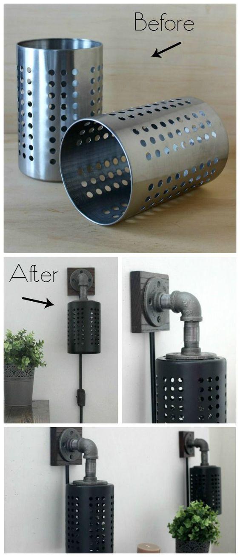 ikea hack lampe diy applique industrielle - blog déco - Clem Around The Corner