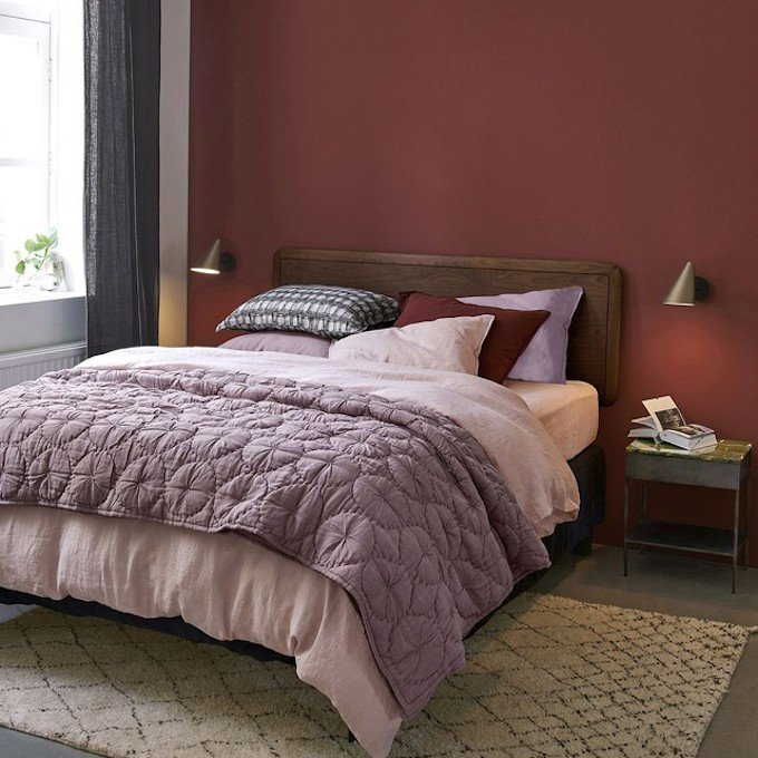 linge de lit en chanvre textile terracotta blush tapis tons rose poudre blog déco clem around the corner