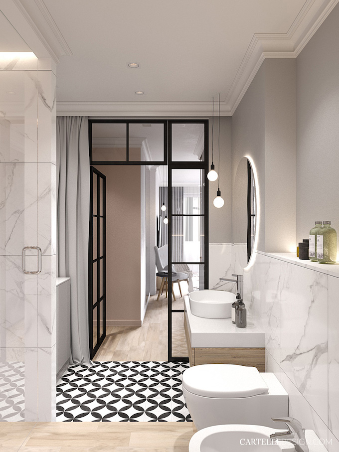 salle de bain verrière suite parentale carrelage damier noir et blanc grès cérame marbre