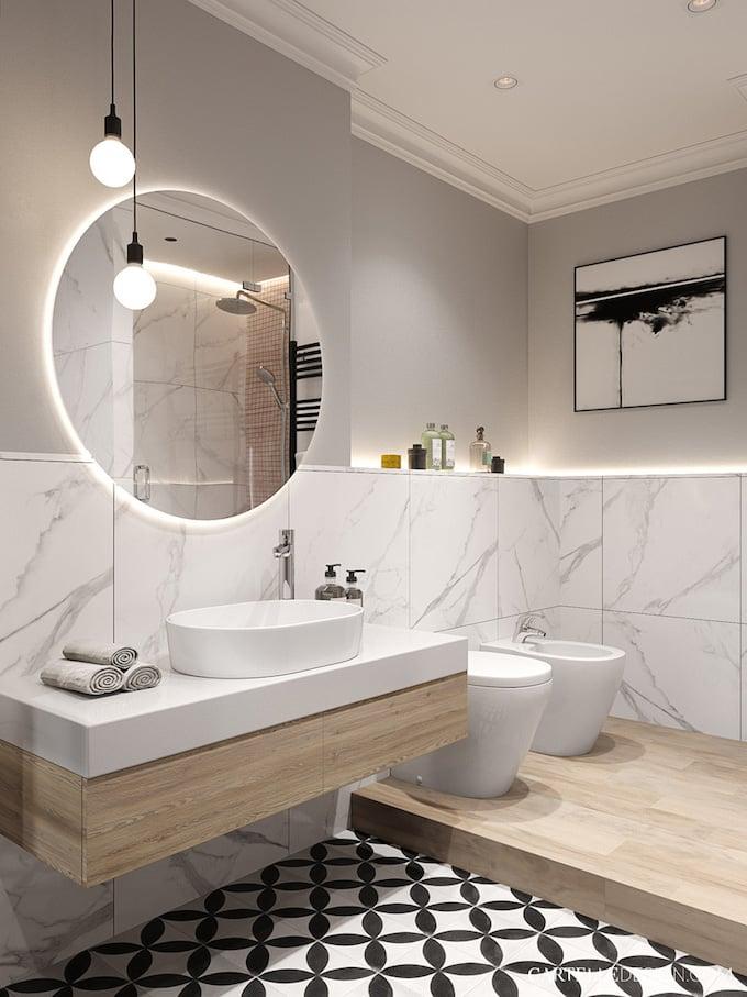 salle de bain grise carreau ciment noir blanc 3 pièces de Saint Pétersbourg - blog déco - Clem Around The Corner