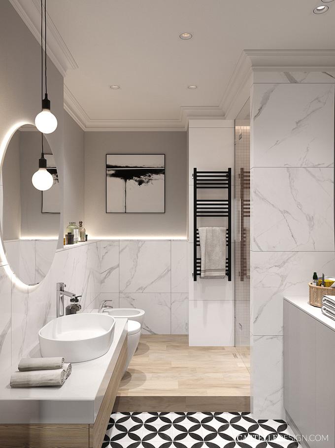 salle de bain minimaliste marbre blanc 3 pièces de Saint Pétersbourg - blog déco - Clem Around The Corner