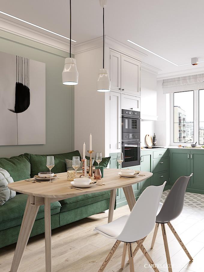 cuisine verte ouverte salon séjour 3 pièces de Saint Pétersbourg - blog déco - Clem Around The Corner