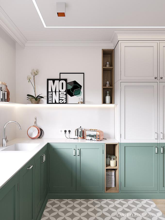 cuisine blanche vert eau pastel 3 pièces de Saint Pétersbourg - blog déco - Clem Around The Corner