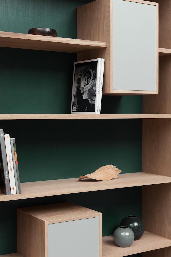 drugeot manufacture mur vert étagère bibliothèque livres bouquins blog déco clemaroundthecorner